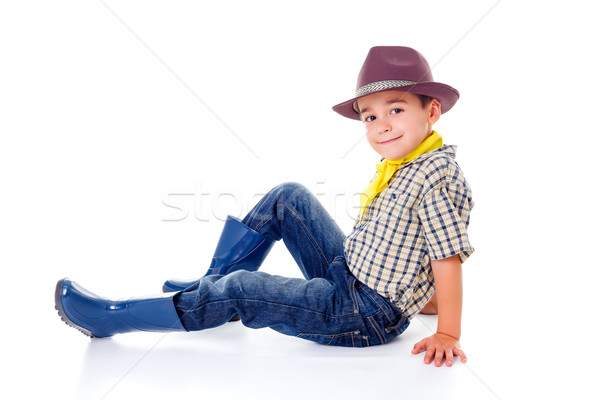 Casual little cowboy in hat Stock photo © erierika