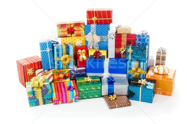 Stok fotoğraf: Renkli · Noel · hediyeler · büyük · kutu