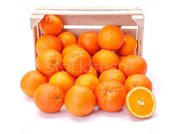 Pomarańcze skrzynia dojrzały na zewnątrz cytrus Zdjęcia stock © erierika