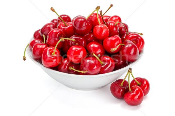 Sweet cherries (Prunus avium) in plate Stock photo © erierika