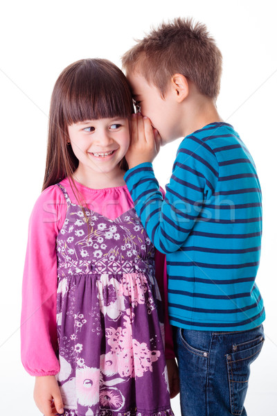 Peu garçon fille chuchotement intéressant histoire Photo stock © erierika
