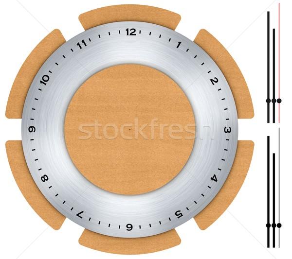 Clock made of wood and brushed metal Stock photo © erierika
