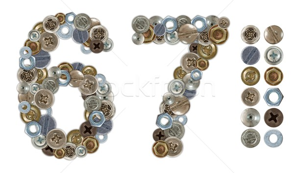 Numbers 6 and 7 made of various screw heads Stock photo © erierika