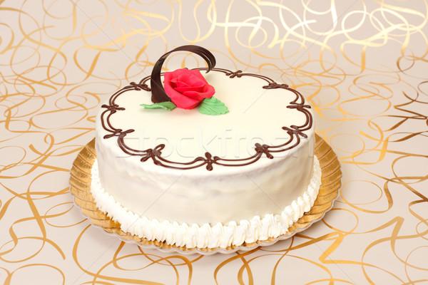 Fehér torta csokoládé díszek piros marcipán Stock fotó © erierika