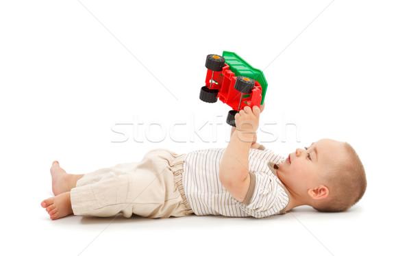 Stockfoto: Jongen · spelen · plastic · speelgoed · auto · weinig