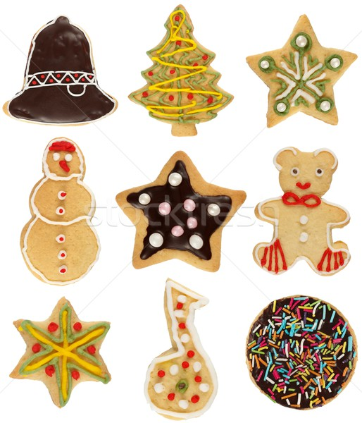 Stock fotó: Karácsony · süti · gyűjtemény · különböző · kézzel · készített · díszített