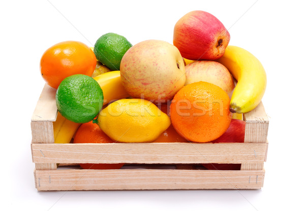 Sztuczny plastikowe owoce skrzynia różny Zdjęcia stock © erierika