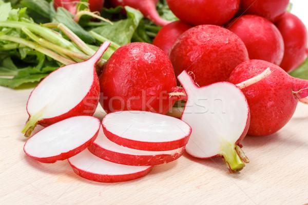 Makro świeże rzodkiewka skrzynia czerwony Zdjęcia stock © erierika