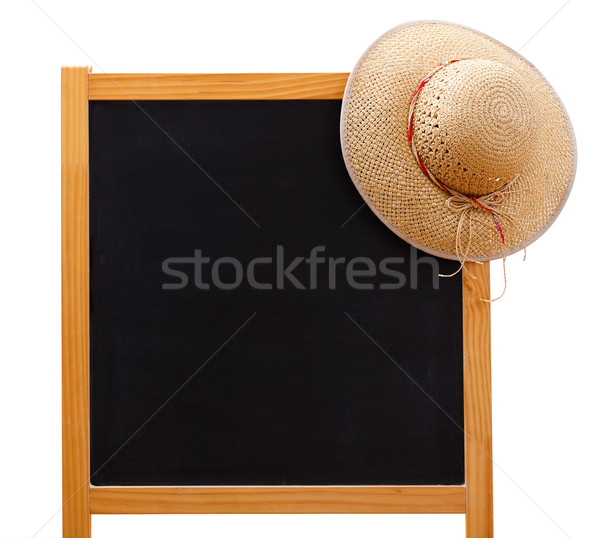 Gone on holiday: chalkboard with straw hat Stock photo © erierika