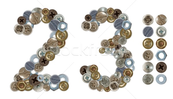 Numbers 2 and 3 made of various screw heads Stock photo © erierika