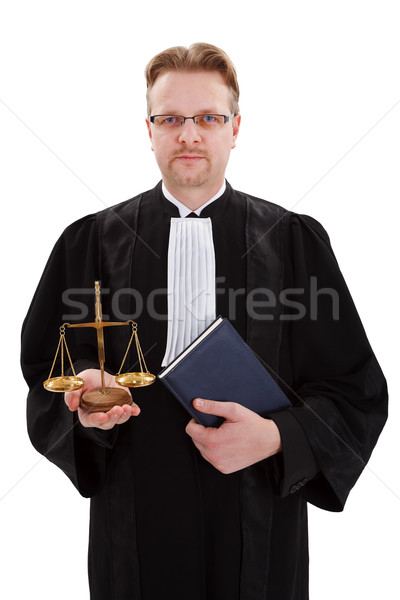 Judge with golden scale of justice Stock photo © erierika