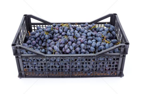 Czerwony tabeli winogron plastikowe skrzynia biały Zdjęcia stock © erierika