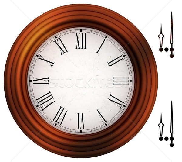 Antiquado relógio romano números moldura de madeira mãos Foto stock © erierika
