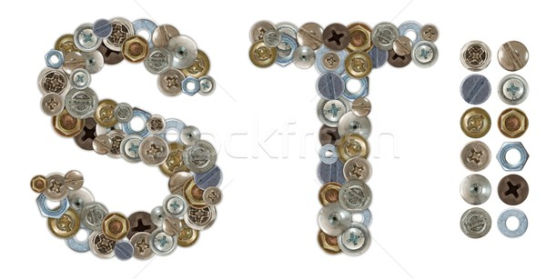 Characters S and T made of nuts and bolts head Stock photo © erierika