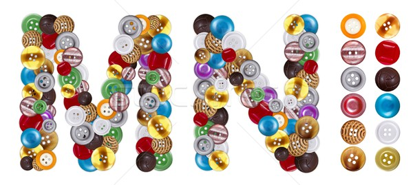 Characters M and N made of clothing buttons Stock photo © erierika