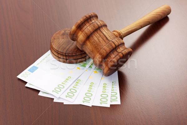 Igazság kalapács Euro bankjegyek fából készült korrupció Stock fotó © erierika