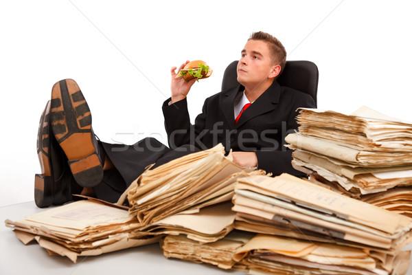 Quebrar homem de negócios trabalho duro documentos tabela Foto stock © erierika