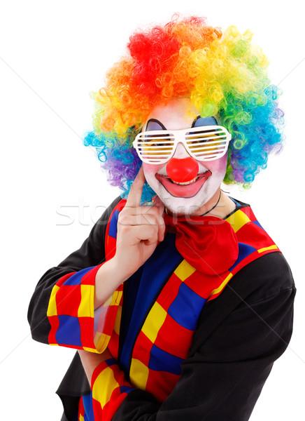 клоуна белый смешные затвор Солнцезащитные очки улыбаясь Сток-фото © erierika