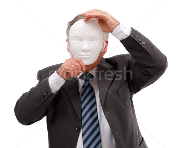 Férfi arc maszk üzletember fehér üzlet Stock fotó © erierika