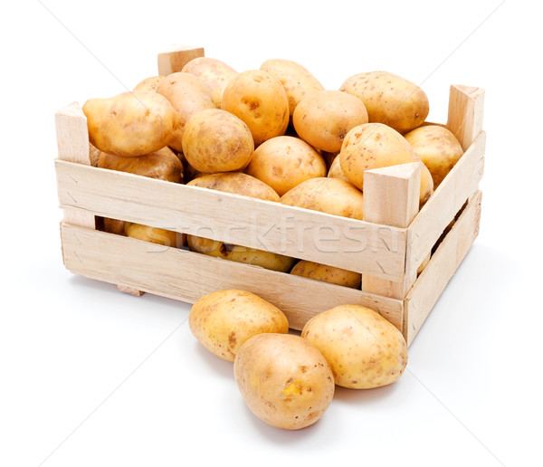 White potatoes in wooden crate Stock photo © erierika