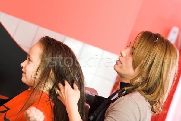 Dziecko włosy stylista kobieta kobiet pracy Zdjęcia stock © erierika