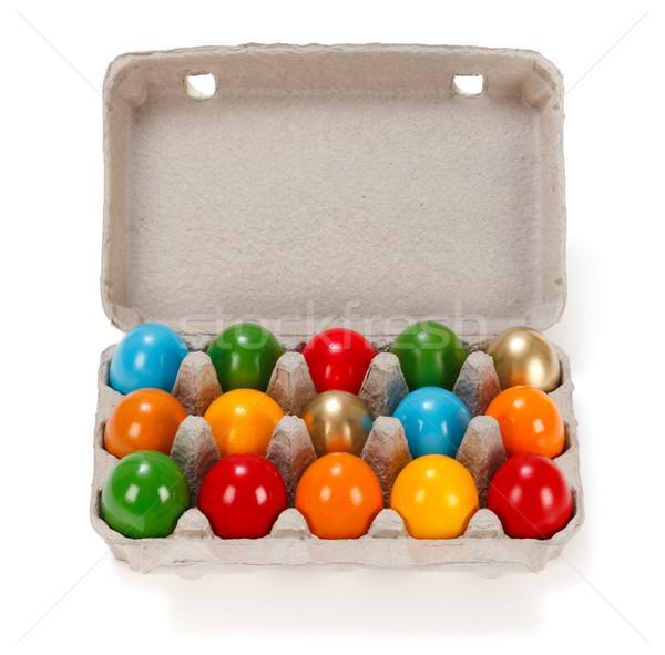 Colorido ovos de páscoa cartão cremalheira abrir papel Foto stock © erierika