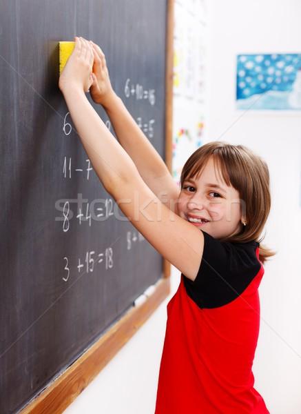 Grundschule Studenten Tafel glücklich elementare Schülerin Stock foto © erierika