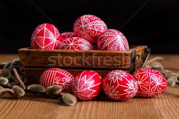 Tradicional mão escrito ovos ovos de páscoa salgueiro Foto stock © erierika