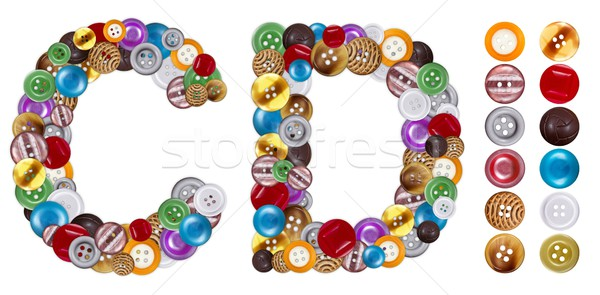 Characters C and D made of clothing buttons Stock photo © erierika