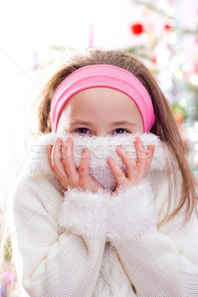 édes kislány fehér pulóver boldog gyermek Stock fotó © erierika