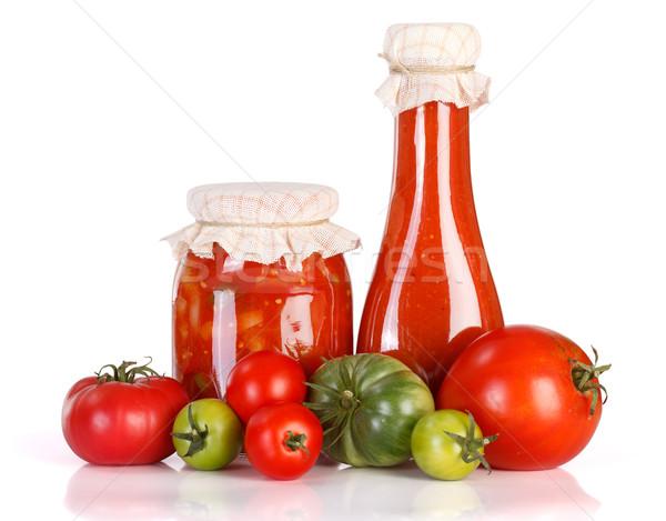 кетчуп стекла банку свежие овощи белый продовольствие Сток-фото © erierika