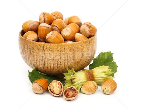 Mogyoró fából készült edény érett gyümölcs háttér Stock fotó © erierika
