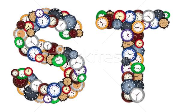 Relojes diseno fondo metal Foto stock © erierika