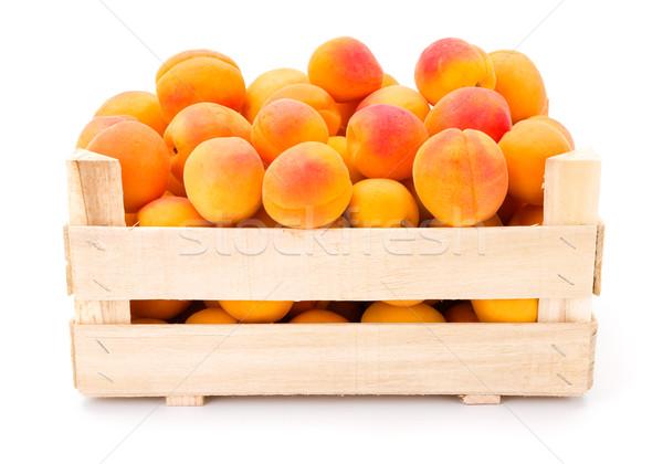 Brzoskwinie skrzynia pełny świeże dojrzały Zdjęcia stock © erierika