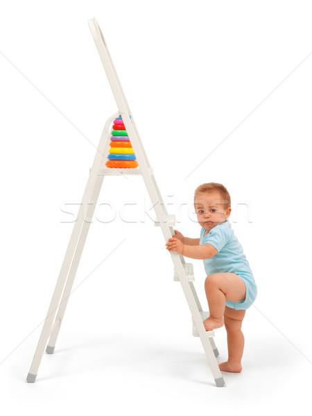 Stockfoto: Baby · jongen · ladder · ernstig · bereiken · target