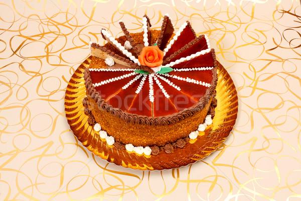 Karamell torta narancs marcipán rózsa arany Stock fotó © erierika