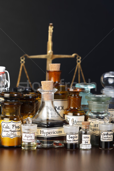 Various pharmacy chemicals of homeopathic medicine Stock photo © erierika