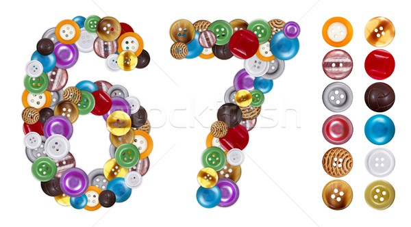 Numbers 6 and 7 made of clothing buttons Stock photo © erierika