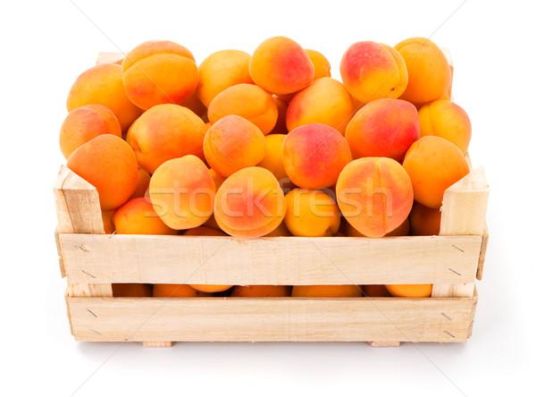 Peaches (Prunus persica) in wooden crate Stock photo © erierika