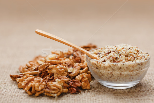 Nut kernel and ground walnut Stock photo © erierika