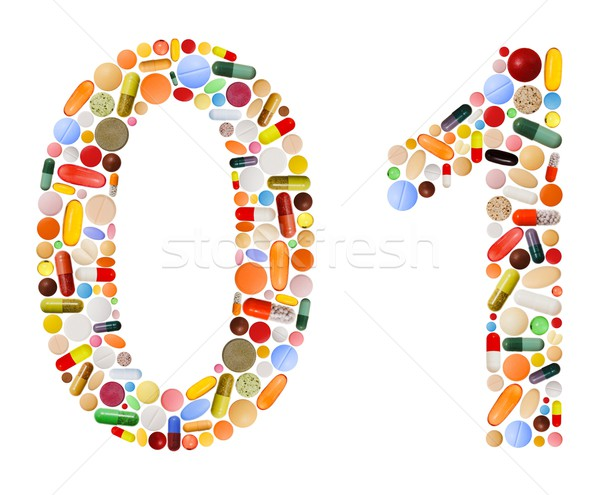 Numbers 0 and 1 made of various colorful pills Stock photo © erierika