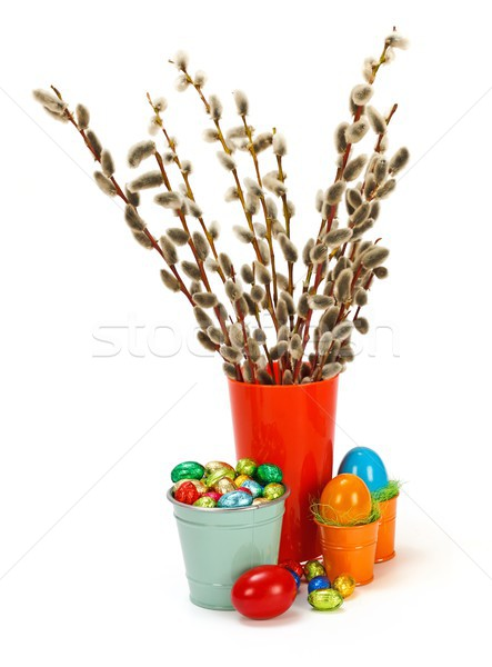 Willow catkin in vase and colorful easter eggs Stock photo © erierika