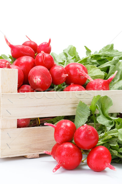 Macro of fresh red radish in crate Stock photo © erierika