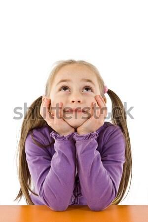 Denken Mädchen wenig ziemlich nachschlagen jungen Stock foto © erierika