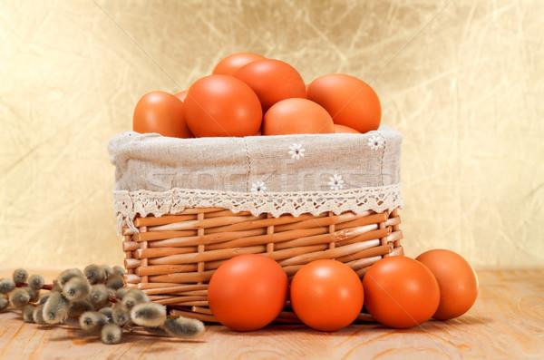Brown eggs in basket Stock photo © erierika