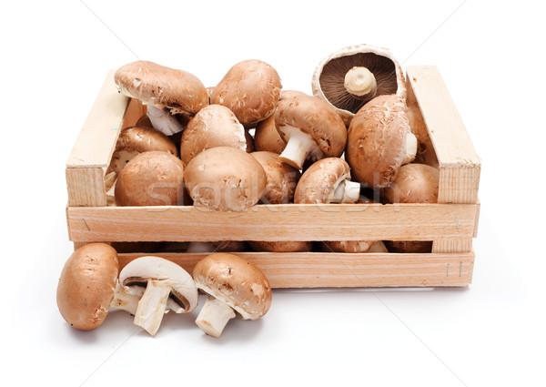 Megművelt barna fából készült láda friss étel Stock fotó © erierika
