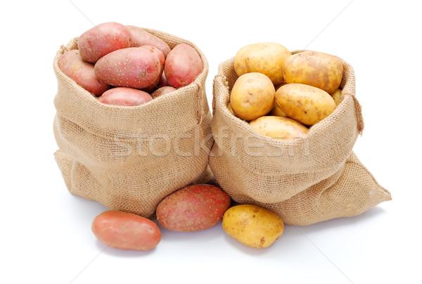 Rouge blanche pommes de terre toile de jute sac fraîches Photo stock © erierika