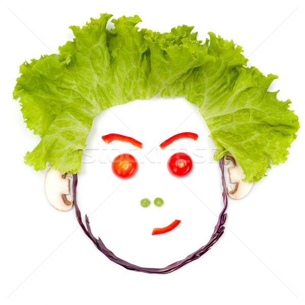 Doubting, skeptical human head made of vegetables Stock photo © erierika