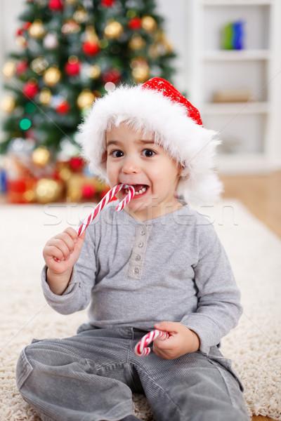 Foto stock: Bonitinho · menino · alimentação · doce · decorado · árvore · de · natal