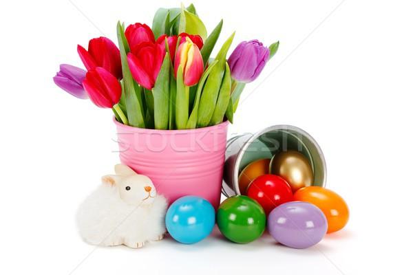 Húsvét szimbólumok festett tojások tulipánok játék Stock fotó © erierika